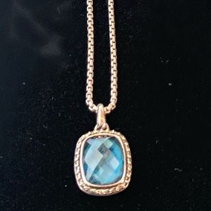 David Yurman Blue Topaz Noblesse Pendant Necklace